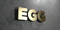 Egg - Gold sign mounted on glossy marble wall - 3D rendered royalty free stock illustration