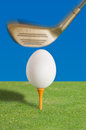 Egg on a golf tee Royalty Free Stock Photo