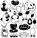 Egg image of black icons eggs and birds chickens geese Royalty Free Stock Images