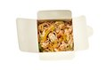 Egg noodles with shiitake mushrooms shrimp and pork in sweet and sour sauce Stock Image