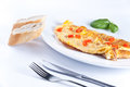Egg omelette with red pepper Stock Photography