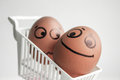 An egg with a painted face. Cute egg. Photo Royalty Free Stock Photo