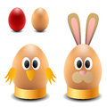 Egg rabbit and chicken for easter decoration Royalty Free Stock Photography