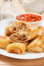 Egg rolls with tomato sauce Royalty Free Stock Photo