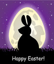 Egg shaped moon and the silhouette of the easter bunny in starry sky in grass Royalty Free Stock Photos