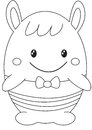 Egg-shaped stuffed toy coloring page