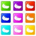 Egg shell icons 9 set