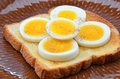 Egg slices on toast hard boiled white sprinkled with salt and pepper Royalty Free Stock Photos