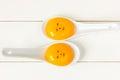 Egg yolk closeup on white background Stock Image
