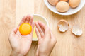 Egg yolk for cooking separate on the hand food ingredient Royalty Free Stock Photo