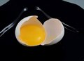 Egg yolk of eggs in the shell on a black plate Royalty Free Stock Photos