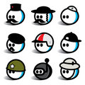 Egghead people with hats Royalty Free Stock Images