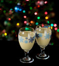 Eggnog and Holiday Lights Stock Image