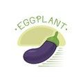 Eggplant or aubergine vegetable badge vector illustration.