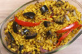 Eggplant biryani an indian rice dish the aubergine or brinjal is a vegetarian version of the popular or south asian based Royalty Free Stock Image