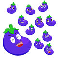 Eggplant cartoon with many expressions Royalty Free Stock Image