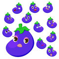 Eggplant cartoon with many expressions Royalty Free Stock Photography