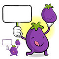 Eggplant characters to promote vegetable selling vegetable char character design series Royalty Free Stock Images