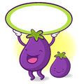 The eggplant mascot holding a big board with both hands vegetab vegetable character design series Royalty Free Stock Images