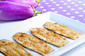 Eggplant miso appetizer vertical Royalty Free Stock Image