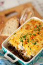 Eggplant moussaka traditional greek dish with and minced meet Stock Images