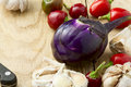 Eggplant peppers and garlic ripe bitter red Royalty Free Stock Images