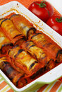 Eggplant rolls filled with meat Royalty Free Stock Photos