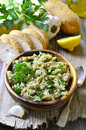 Eggplant salad with olive oil herb and garlic traditional greek cuisine Royalty Free Stock Photo