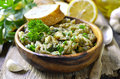 Eggplant salad with olive oil herb and garlic traditional greek cuisine Stock Photo