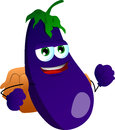 Eggplant with school bag vector style illustrated vector format is available Royalty Free Stock Image