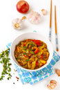 Eggplant stew with tomato and pepper Royalty Free Stock Photo