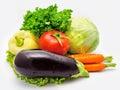 Eggplant tomato cabbage carrots  paprika Royalty Free Stock Photos