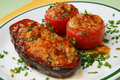 Eggplant and tomatoes filled with rice Royalty Free Stock Photo