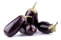 Eggplants or aubergines on white background Royalty Free Stock Photos
