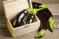 Eggplants in a wood box Stock Photography