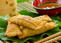 Eggrolls crispy deep fried with plum sauce Royalty Free Stock Photo