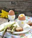 Eggs asparagus easter breakfast Royalty Free Stock Image