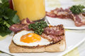 Eggs and bacon croissant orange juice Royalty Free Stock Photography