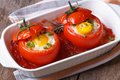 Eggs baked in tomato top view. close up Royalty Free Stock Photo
