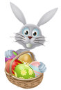 Eggs basket easter bunny rabbit a white with a of decorated painted Stock Images