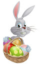 Eggs basket white easter bunny a rabbit with a of chocolate Royalty Free Stock Images