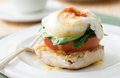 Eggs benedict florentine closeup of vegetarian with fresh tomato and spinach Stock Image