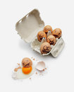 Eggs in a box are scared Royalty Free Stock Photo