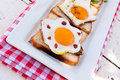 Eggs on bread selective focus the front egg Stock Image