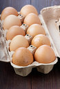 Eggs in a cardboard box Royalty Free Stock Images