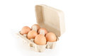 Eggs in cardboard tray: Clipping path included. Stock Photo