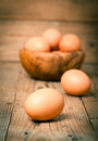 Eggs close up of on wooden background Royalty Free Stock Photography