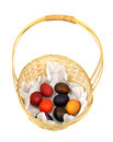 Eggs easter basket white background Stock Photo