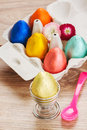 Eggs for easter breakfast on wooden table Stock Images