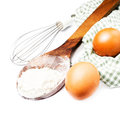 Eggs and flour for baking isolated on white background Stock Images